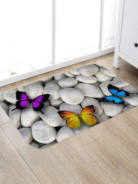 Stones and Butterfly Pattern Water Absorption Area Rug - ASH GRAY W20 X L31.5 INCH