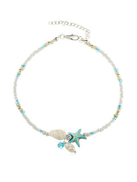 Conch Starfish Beaded Anklet - SILVER