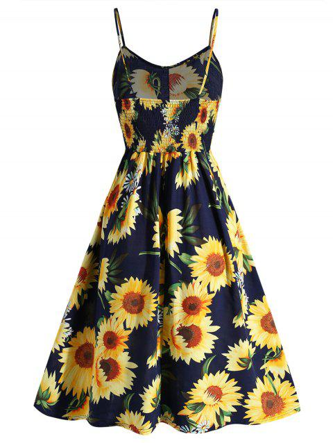 2fd3f7eff6cf 47% OFF] 2019 Plus Size Sunflower Print A Line Dress In DARK SLATE ...
