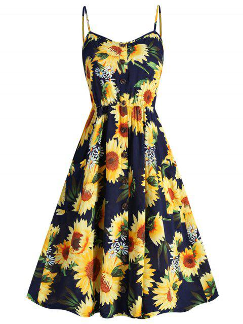 Plus Size Sunflower Print A Line Dress - DARK SLATE BLUE 3X