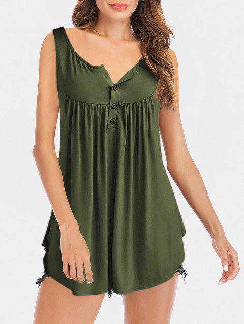 Half Button Longline Tank Top - ARMY GREEN 2XL