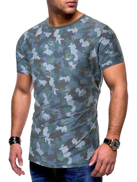 Camouflage Print Destroy Wash Slim Fit Tee - MARBLE BLUE 2XL