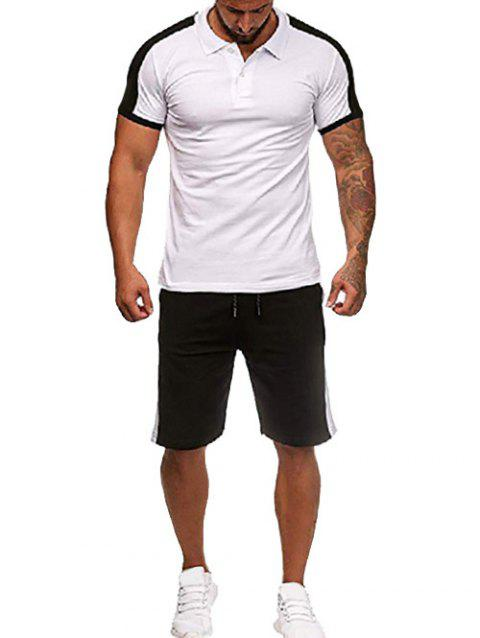 Contrast Shirt Collar Tee and Shorts - WHITE 2XL
