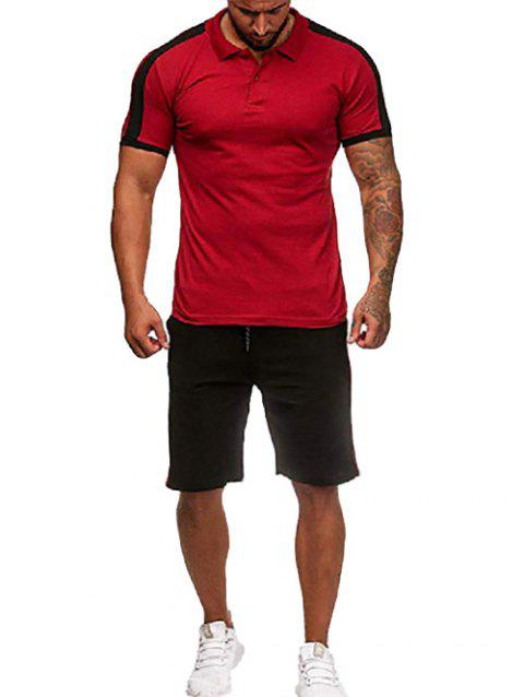 Contrast Shirt Collar Tee and Shorts - RED WINE 2XL