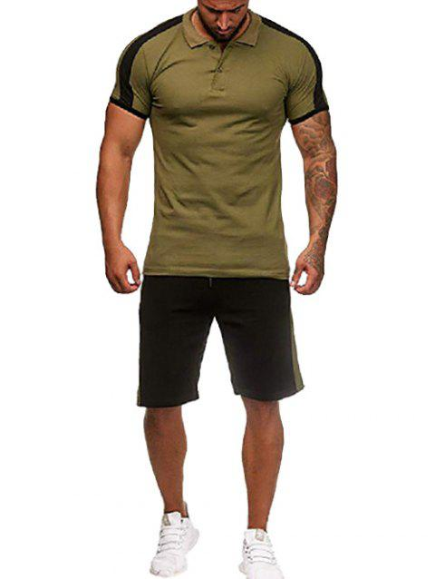 Contrast Shirt Collar Tee and Shorts - ARMY GREEN 2XL
