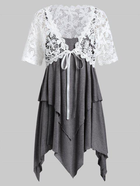 Plus Size Lace Top With Layered Handkerchief Cami Top - GRAY 5X