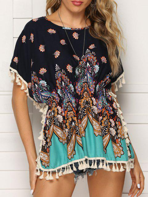 Bohemian Floral Tassel Batwing Sleeve Blouse - multicolor A 2XL