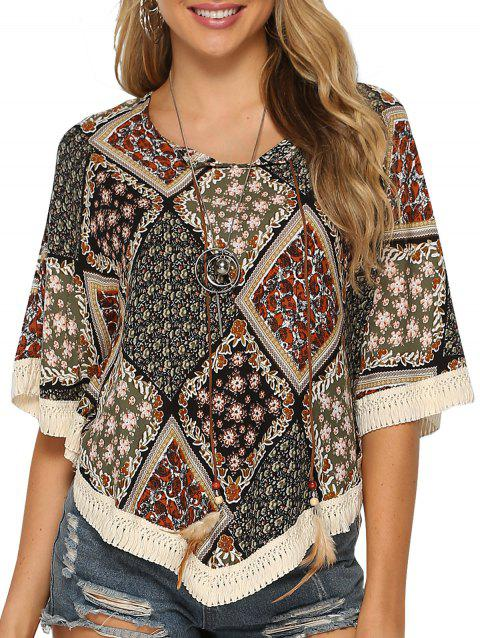 Bohemain Crochet Batwing Sleeve Blouse - multicolor A 3XL
