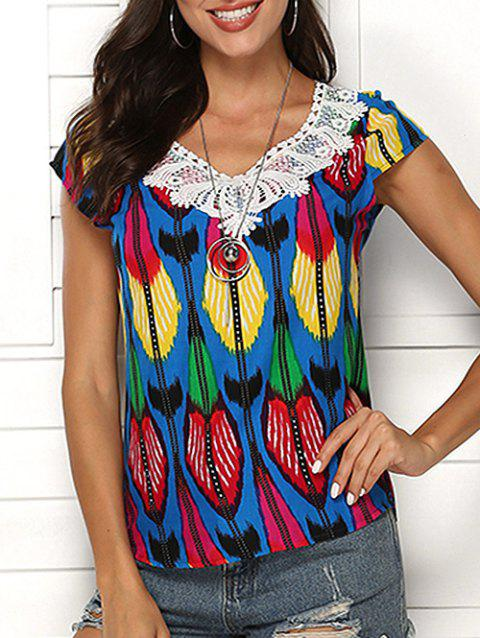 Print Crochet Beading Embellished Blouse - multicolor A 2XL