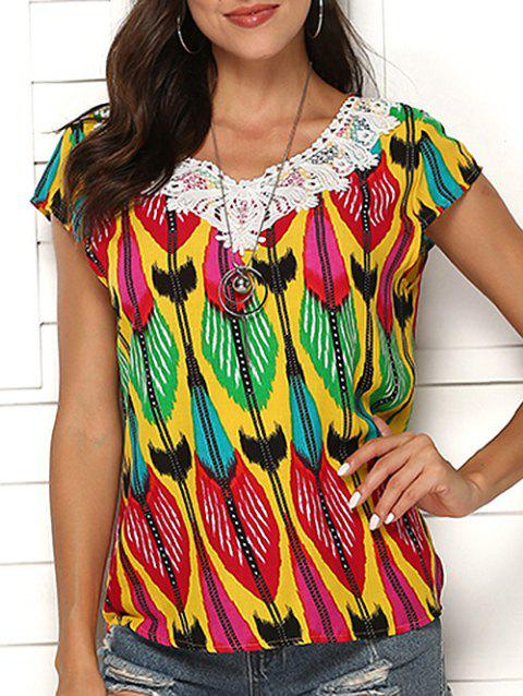 Print Crochet Beading Embellished Blouse - multicolor B 2XL
