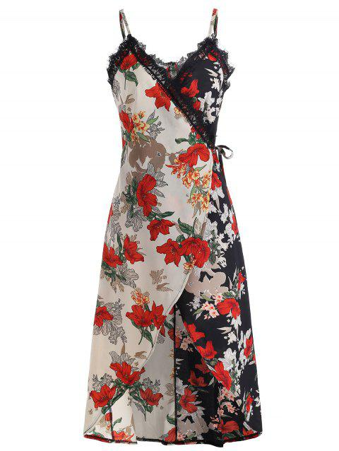 Lace Trim Flower Cami Wrap Dress - multicolor XL