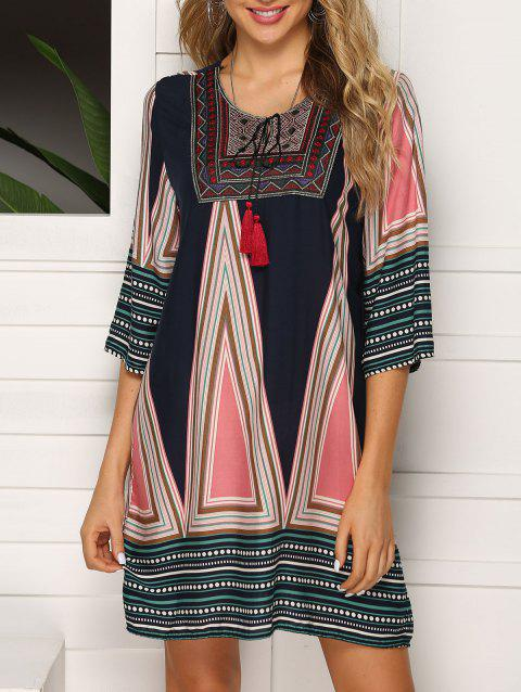 Keyhole Embroidered Tassel Tunic Dress - multicolor A 3XL