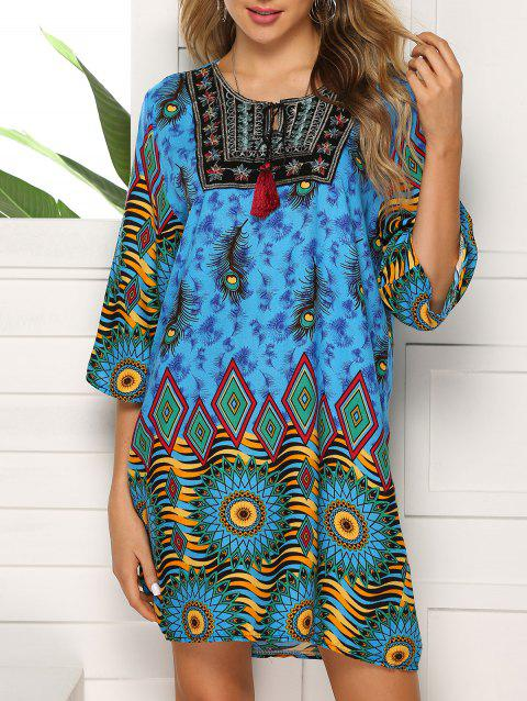 Keyhole Embroidered Tassel Tunic Dress - multicolor D 3XL