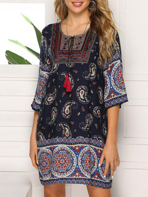 Keyhole Embroidered Tassel Tunic Dress - multicolor E 3XL