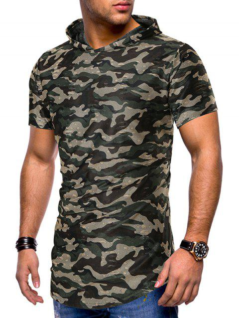 Camouflage Print Ripped Hooded Tee - ARMY GREEN 2XL