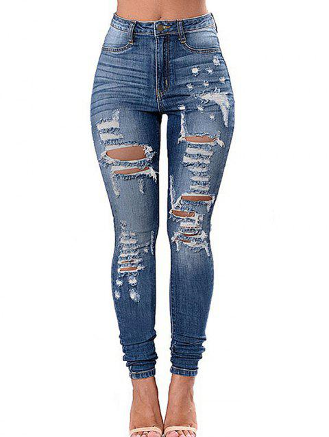 High Waisted Ripped Skinny Jeans - DENIM BLUE 3XL