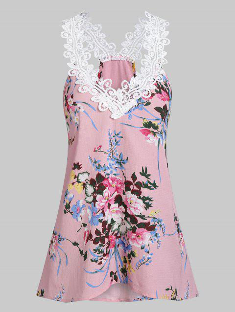 Lace Insert Floral Print Tank Top - PINK ROSE 2XL