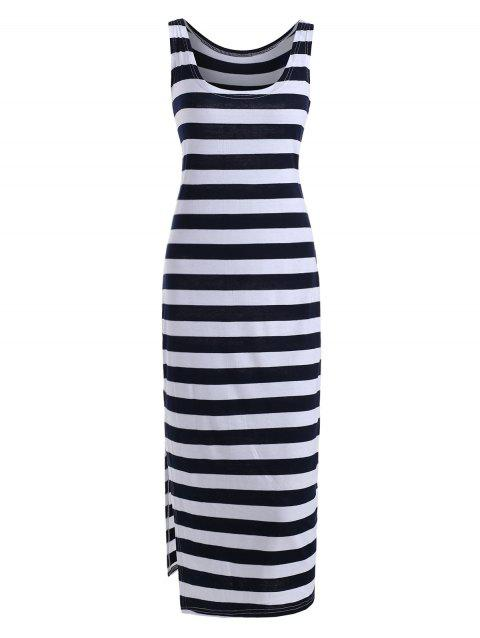 Midi Striped Bodycon Slit Tank Dress - MIDNIGHT BLUE XL
