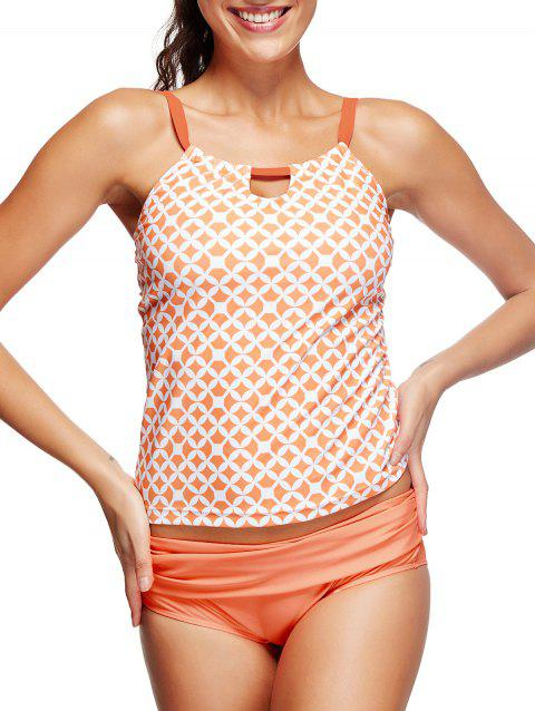 Ruched Geometric Print Tankini Set - BASKET BALL ORANGE S
