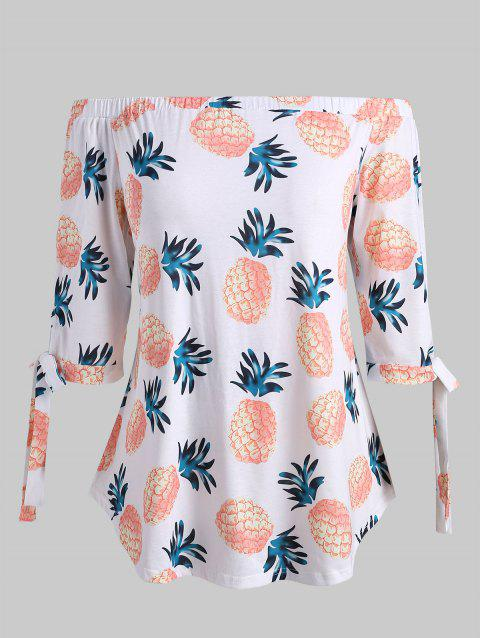 Plus Size Off The Shoulder Pineapple Print T-shirt - WHITE 4X