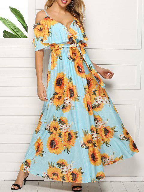 Sunflower Cold Shoulder Slit Maxi Dress - multicolor B 3XL
