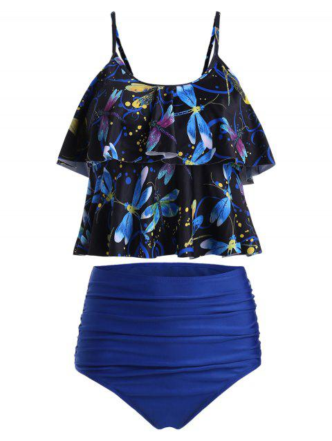 Dragonfly Print Ruched Overlay Tankini Set - BLUE S