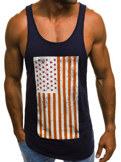 American Flag Graphic Tank Top - CADETBLUE XL