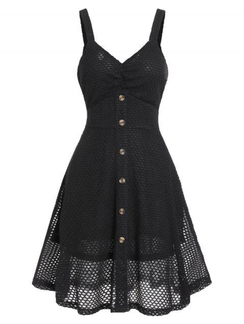Fishnet Buttoned A Line Dress - BLACK S
