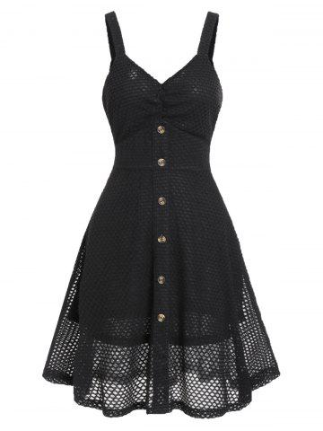 ee0a9bf4c66 Fishnet Buttoned A Line Dress
