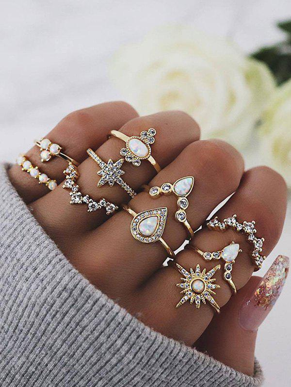 10Pcs Geometric Rhinestone Ring Set - GOLD