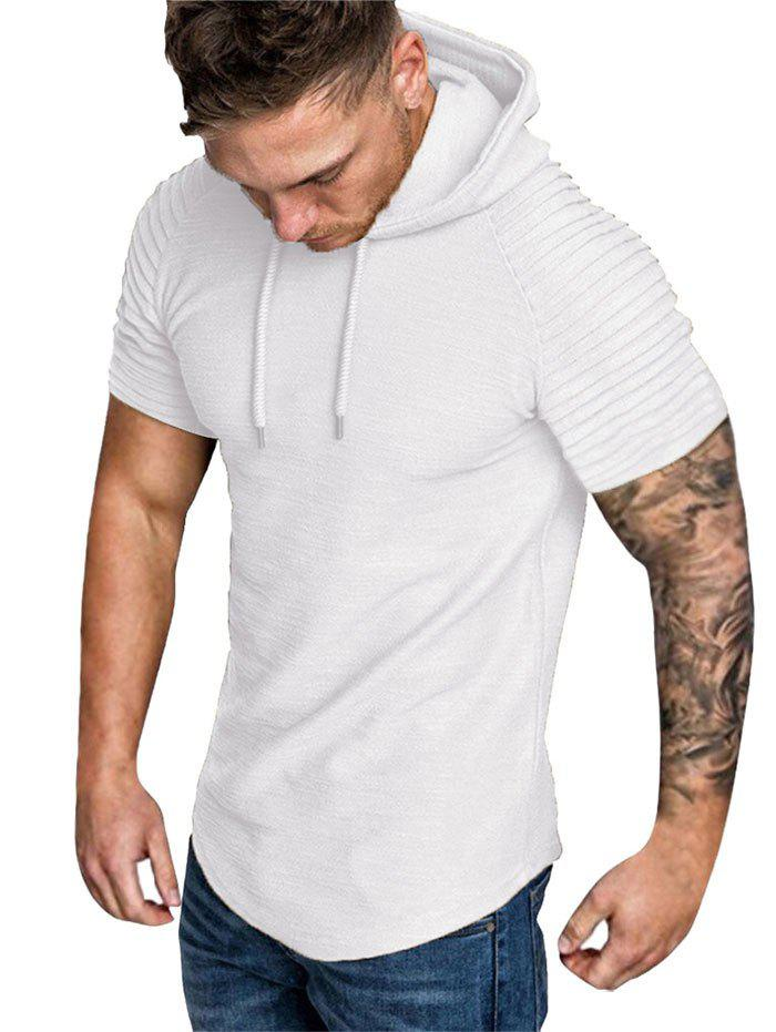 Hooded Ruched Sleeve T-shirt - WHITE 2XL