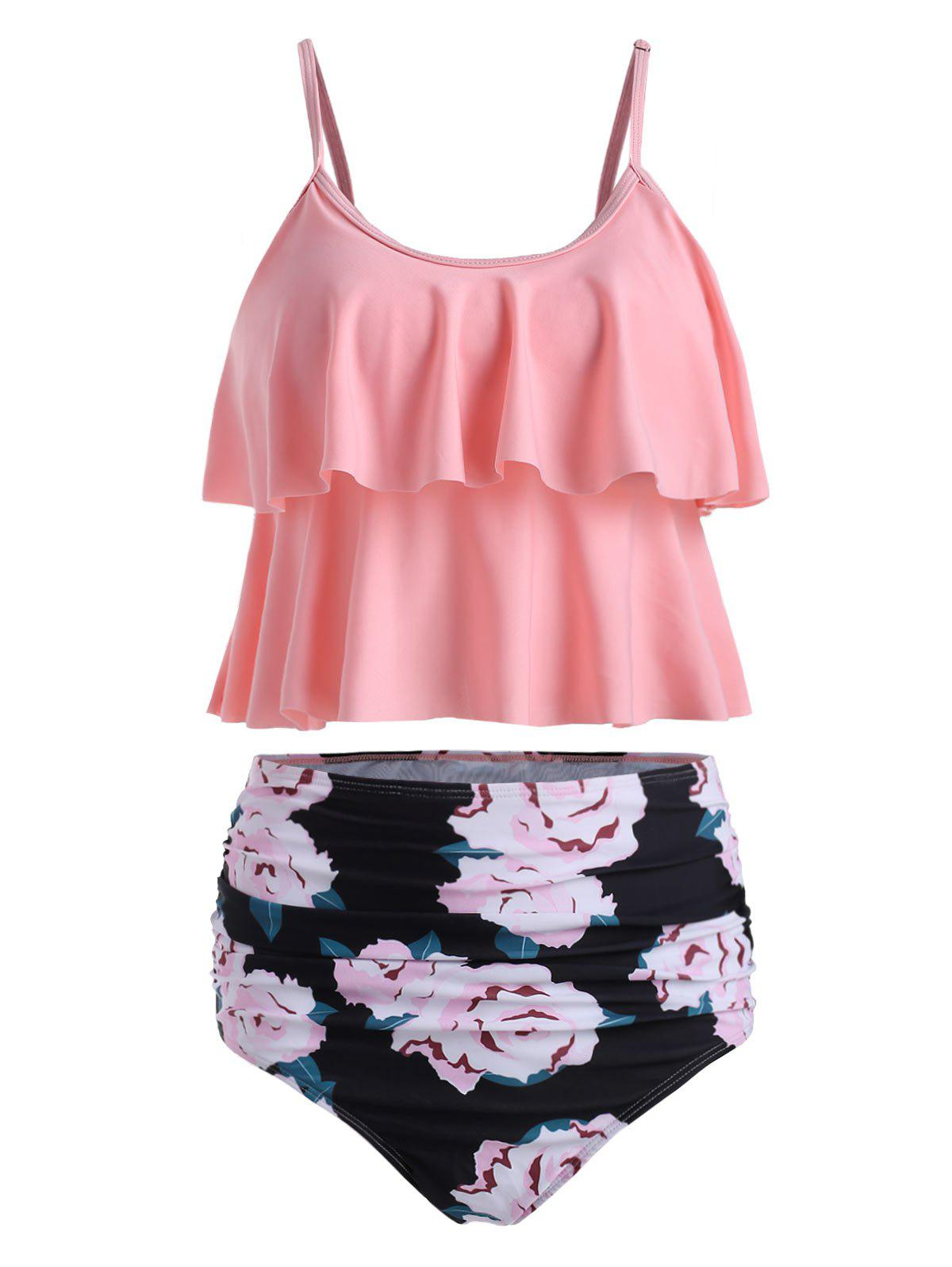 Ruched Floral Print Overlay Tankini Set - PINK M