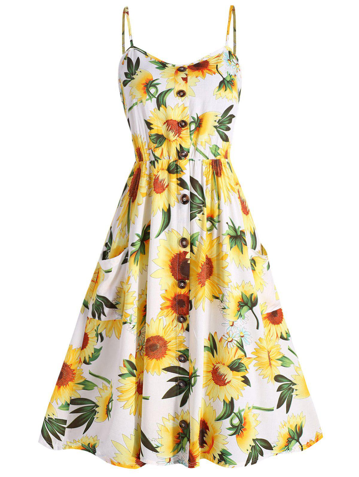 Plus Size Sunflower Print A Line Dress - WHITE 4X