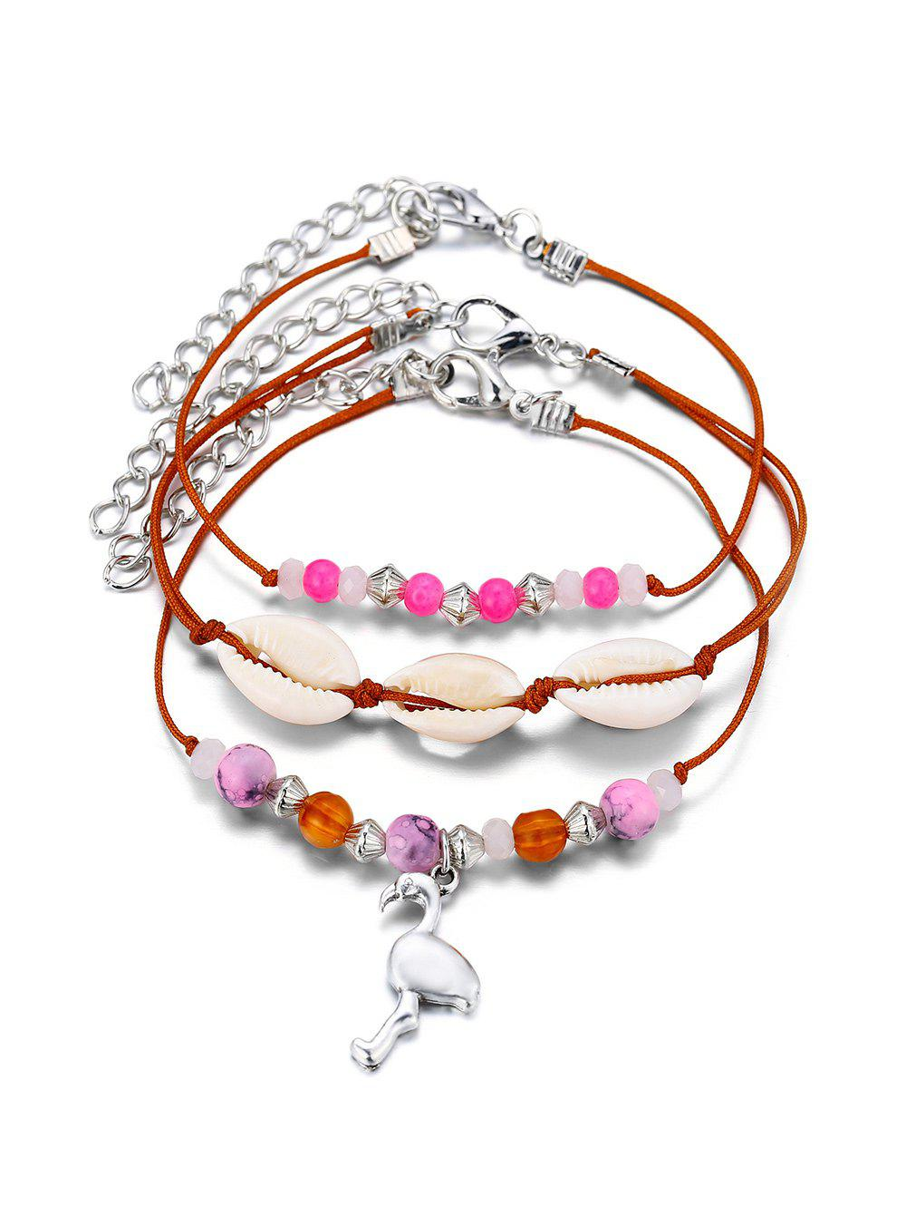 3Pcs Beaded Cowrie Shell Animal Anklet Set - LIGHT PINK