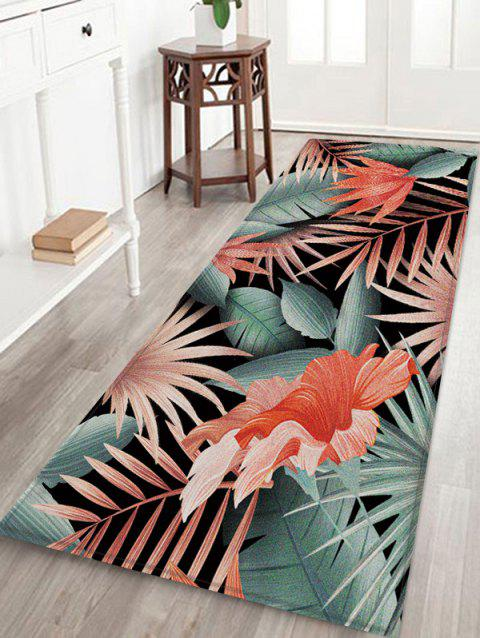 Leaf Floral Pattern Design Floor Mat - multicolor A W24 X L71 INCH