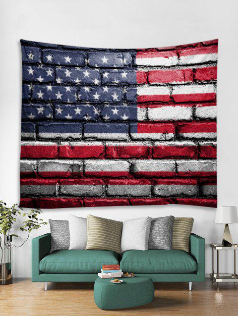 American Flag Brick Wall Print Tapestry Wall Hanging Art Decoration - RED WINE W79 X L59 INCH
