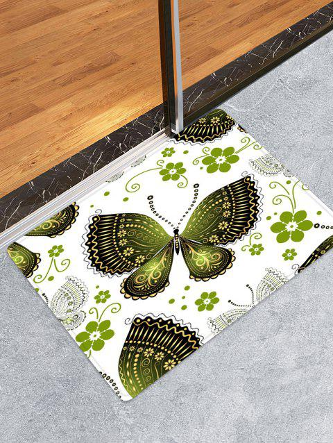 Butterfly and Flowers Pattern Water Absorption Area Rug - multicolor W24 X L35.5 INCH