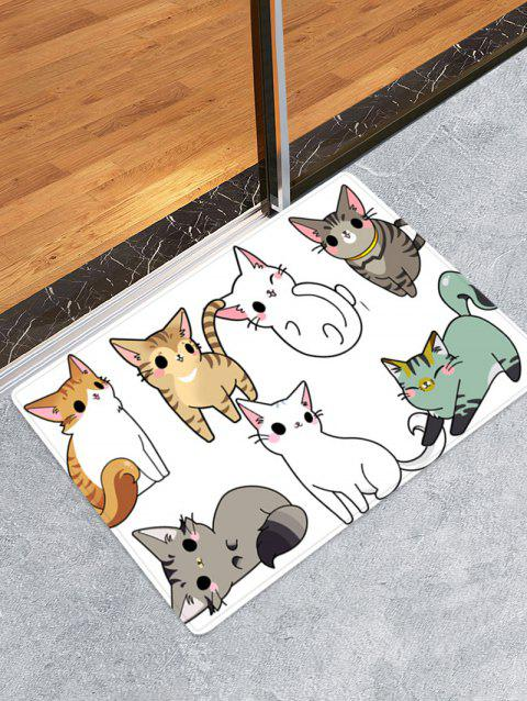 Cartoon Cats Patterned Water Absorption Area Rug - multicolor W24 X L35.5 INCH