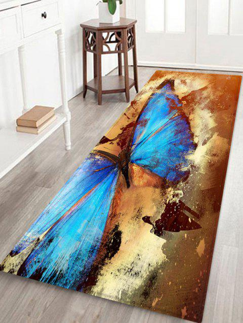 Retro Butterfly Pattern Water Absorption Area Rug - multicolor W24 X L71 INCH