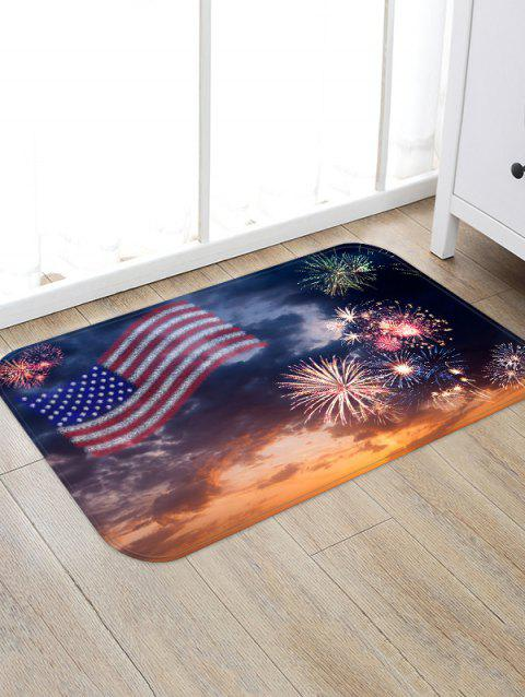American Flag Firework Pattern Water Absorption Area Rug - multicolor W20 X L31.5 INCH
