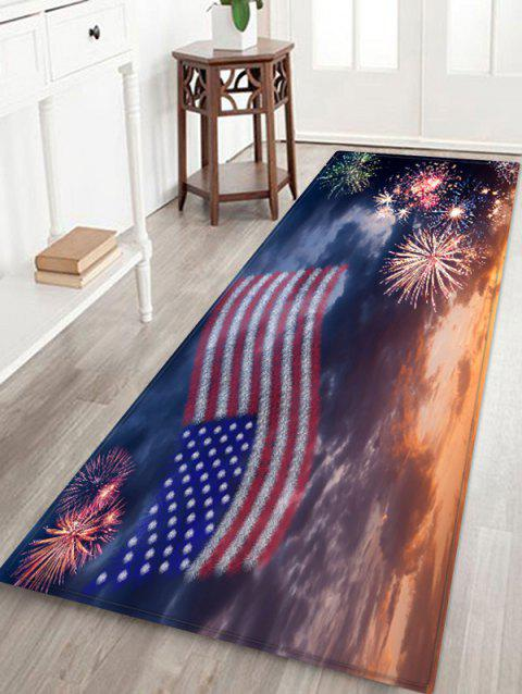 American Flag Firework Pattern Water Absorption Area Rug - multicolor W24 X L71 INCH
