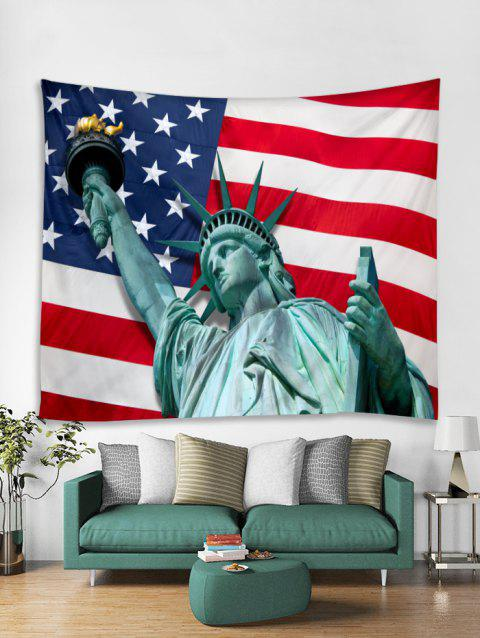 Statue Of Liberty and American Flag Print Tapestry Wall Hanging Art Decoration - multicolor W79 X L59 INCH