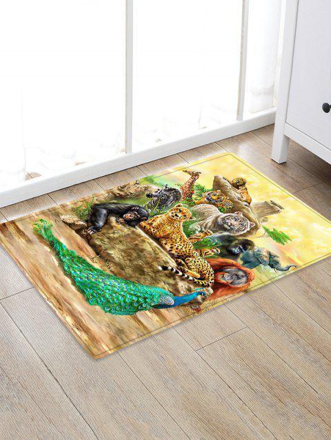 Animals Pattern Flannel Water Absorption Area Rug - SUN YELLOW W20 X L31.5 INCH