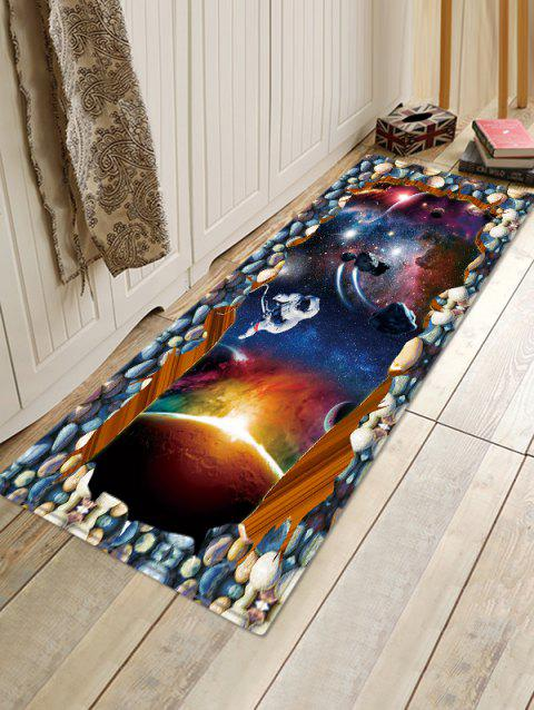 Outer Space Astronaut Pattern Water Absorption Flannel Area Rug - LAPIS BLUE W16 X L47 INCH