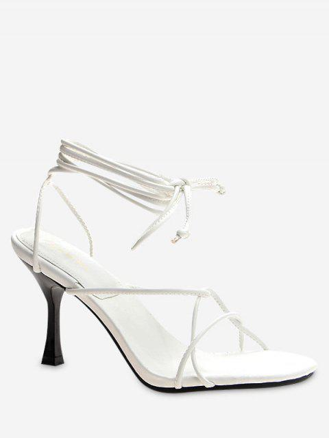 Lace Up Strappy High Heel Sandals - WHITE EU 35