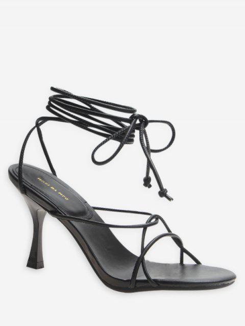 Lace Up Strappy High Heel Sandals - BLACK EU 35