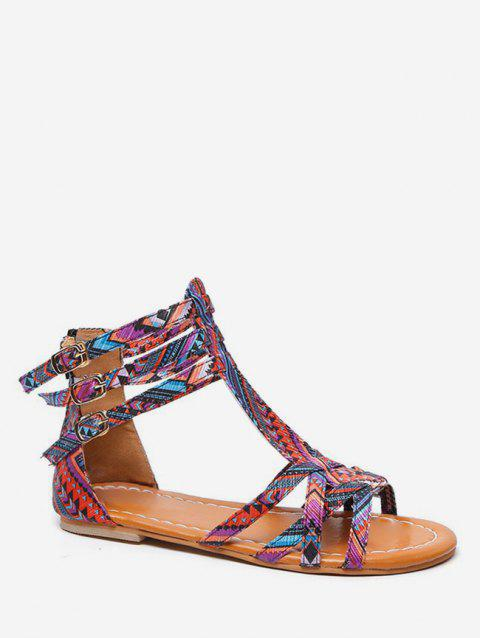 Bohemian Print Flat Sandals - PURPLE EU 42