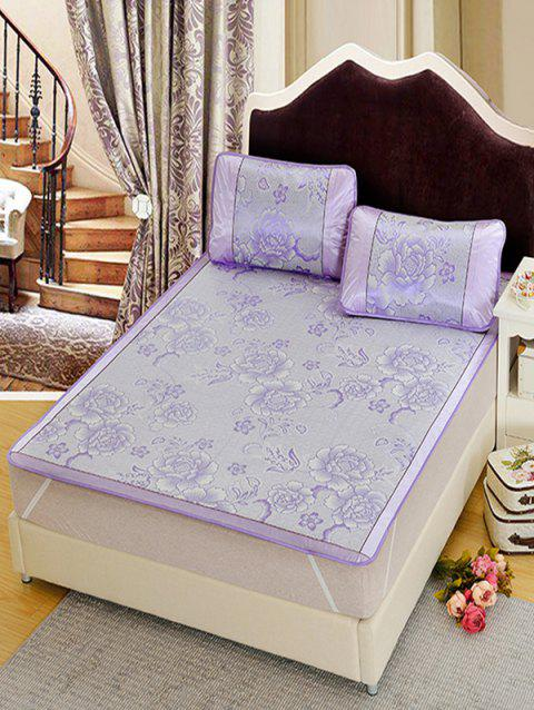 Floral Pattern Summer Sleeping Mat with Pillows - LAVENDER BLUE