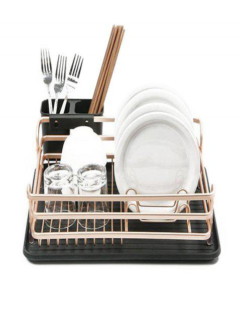 Aluminum Drop Receive Kitchen Dish Rack - ROSE GOLD