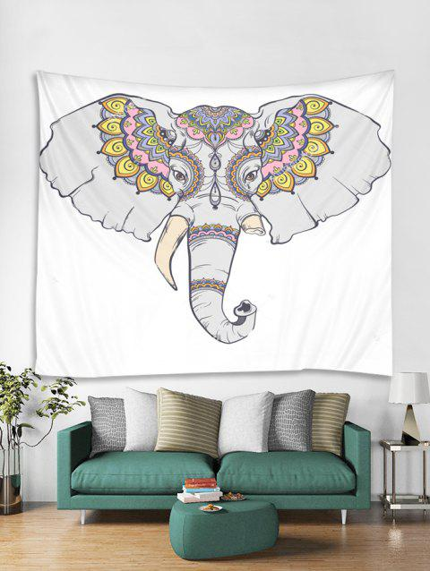 Boho Elephant Printed Tapestry Wall Hanging Art Decoration - WHITE W59 X L51 INCH